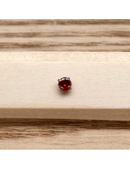 Barbell plateau 1.2/8 argent brillant 3mm rouge