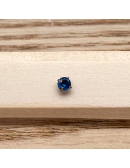 Barbell plateau 1.2/6 argent brillant 3mm bleu foncé