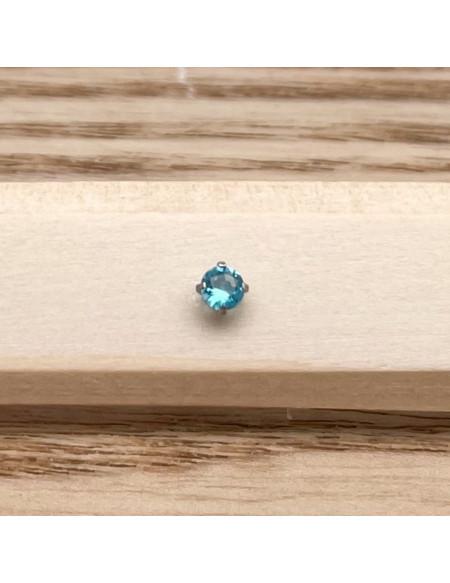 Barbell plateau 1.2/8 argent brillant 3mm bleu clair