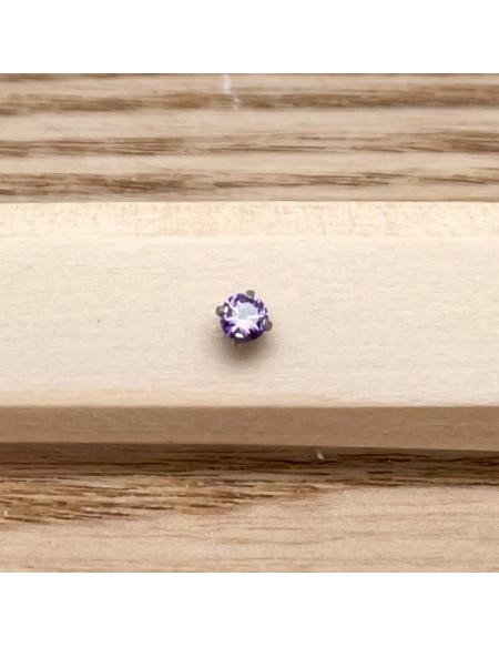Barbell plateau 1.2/6 argent brillant 3mm violet