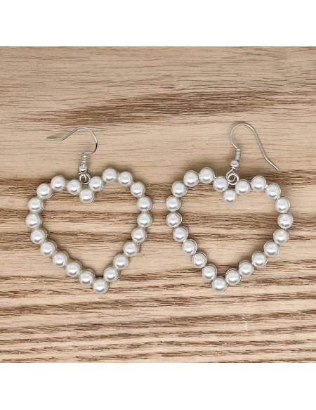 Cœurs en perles pendants argents