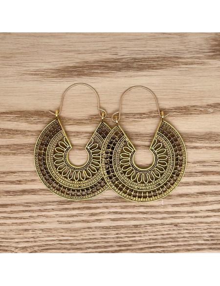 Cercles vintages géométriques pendants dorés