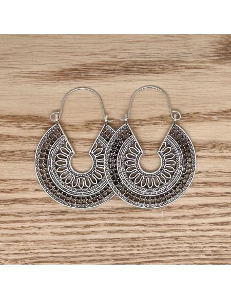 Cercles vintages géométriques pendants argents