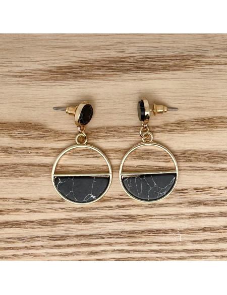 Cercles pendants noirs marbrés
