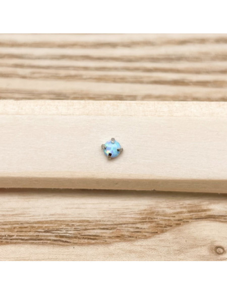 Barbell plateau 1.2/8 boule 3mm opale bleue
