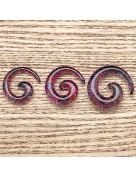 Ecarteur spirale transparent tacheté 1pcs
