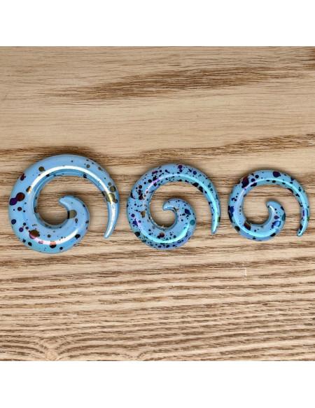 Ecarteur spirale bleu tacheté 1pcs