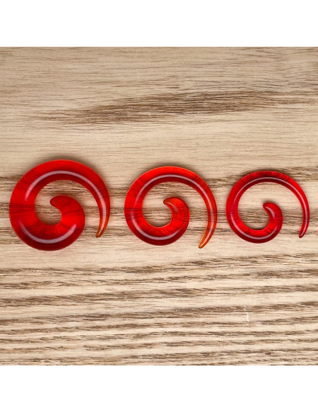 Ecarteur spirale transparent rouge 1pcs
