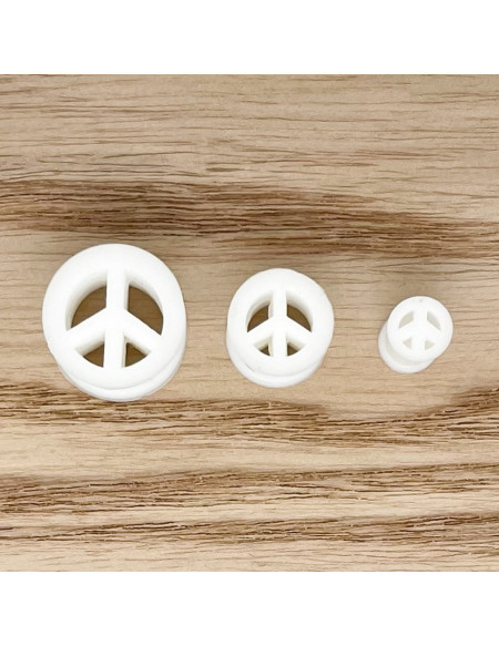 """Ecarteur tunnel Silicone blanc """"Peace and love"""" 1pcs"""