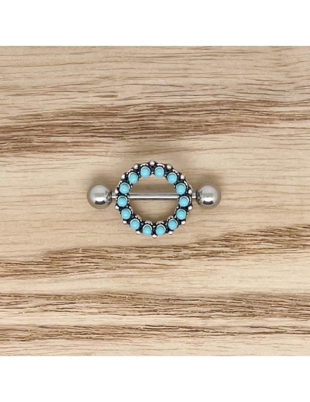 Téton rond perles bleues argent