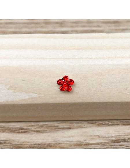 Piercing nez barbell droite brillant fleur rouge