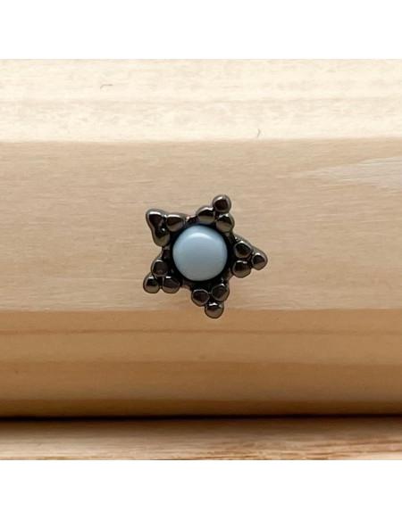 Barbell boule 1.2/6 fleur noire et bleue